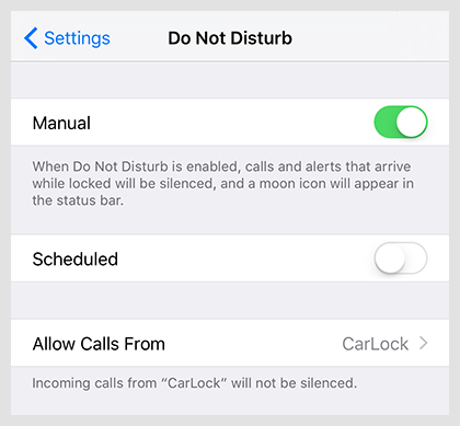 Allow calls form CarLock group