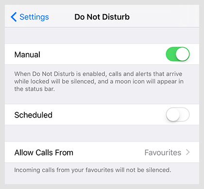 Allow calls form Favourites group