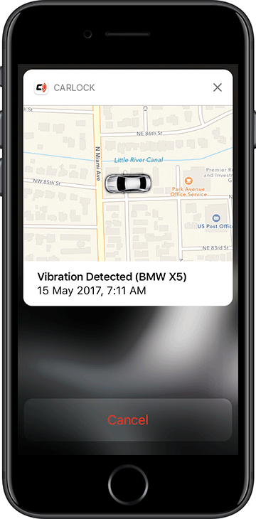 CarLock Vibration Detected Push Notification