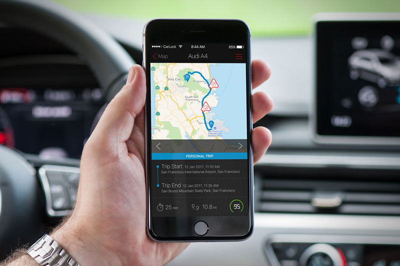 CarLock GPS car tracker - Trip history and past notifications log